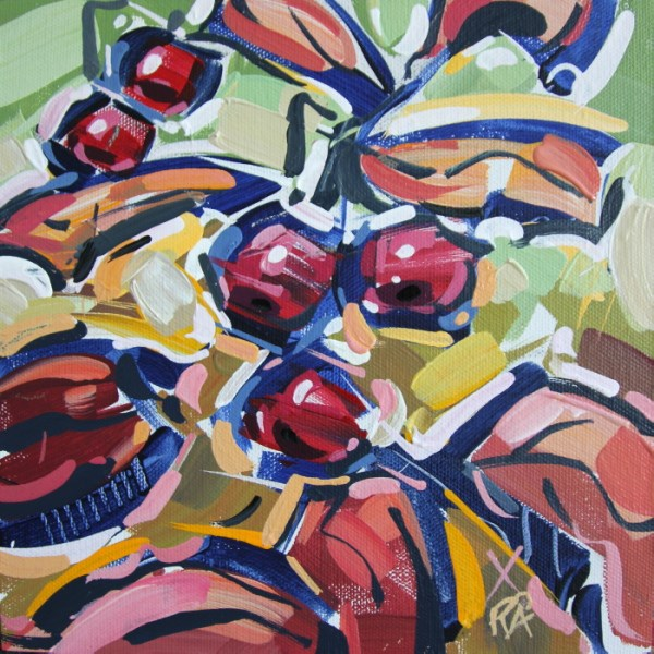 """Autumn Berry Abstraction 26"" original fine art by Roger Akesson"