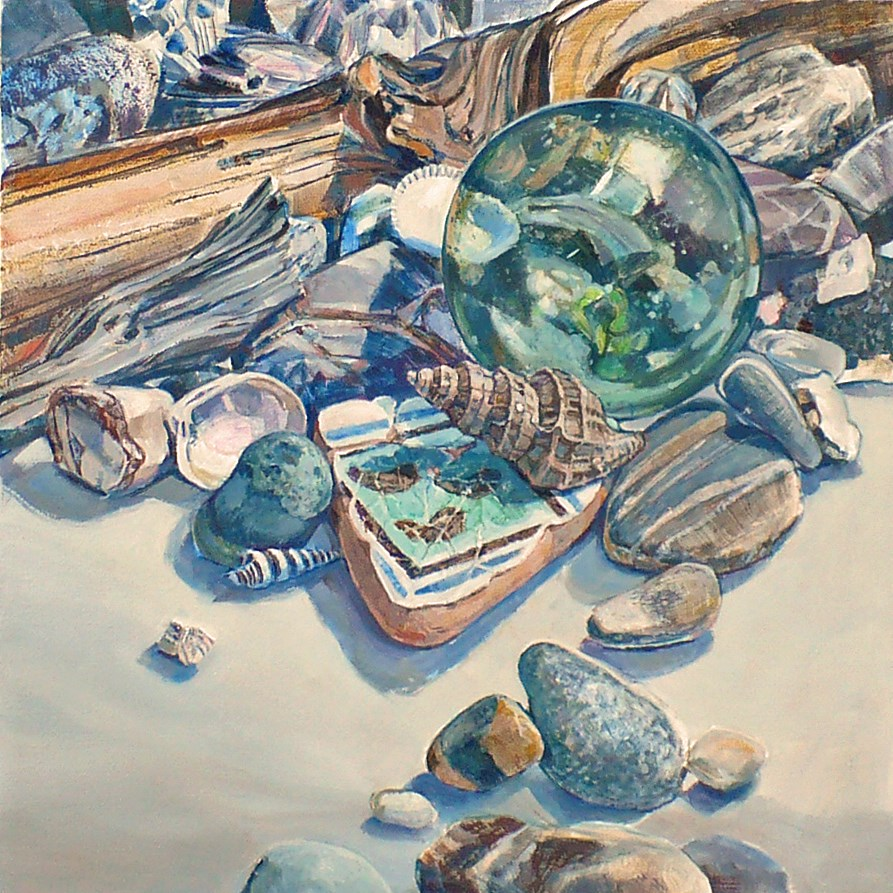 """""""Beach vignette: Lost and Found"""" original fine art by Nicoletta Baumeister"""