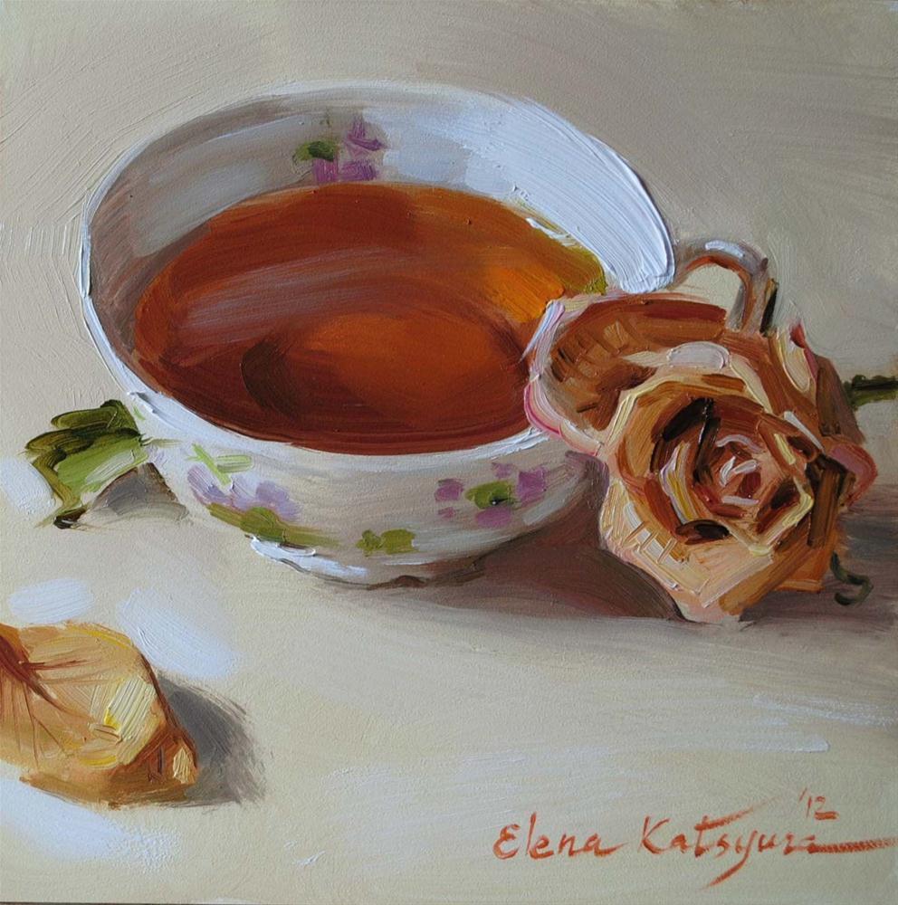 """""""Memories Over Tea"""" original fine art by Elena Katsyura"""