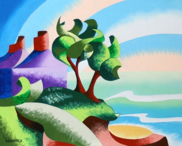 """""""Mark Webster - House on the Coast - Abstract Geometric Landscape Oil Painting"""" original fine art by Mark Webster"""