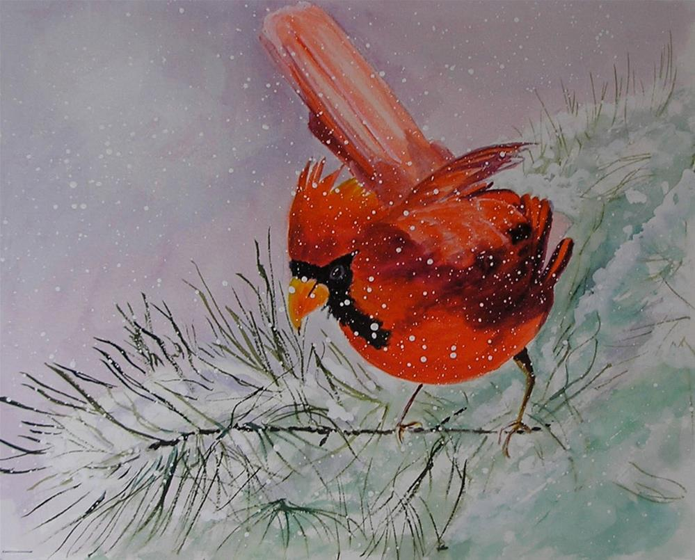"""Cardinal in the Snnow"" original fine art by Bunny Griffeth"