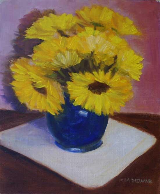 """Sunflowers in Blue Vase"" original fine art by Kay Dewar"