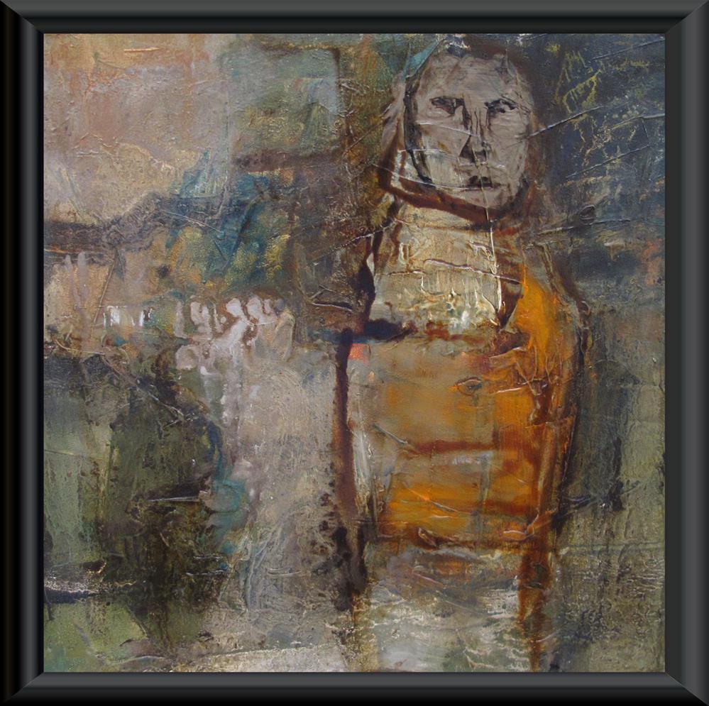 """""""THE PILGRIMAGE Original ABSTRACT FIGURE PORTAIT 6X6 Art Painting OIL"""" original fine art by Colette Davis"""