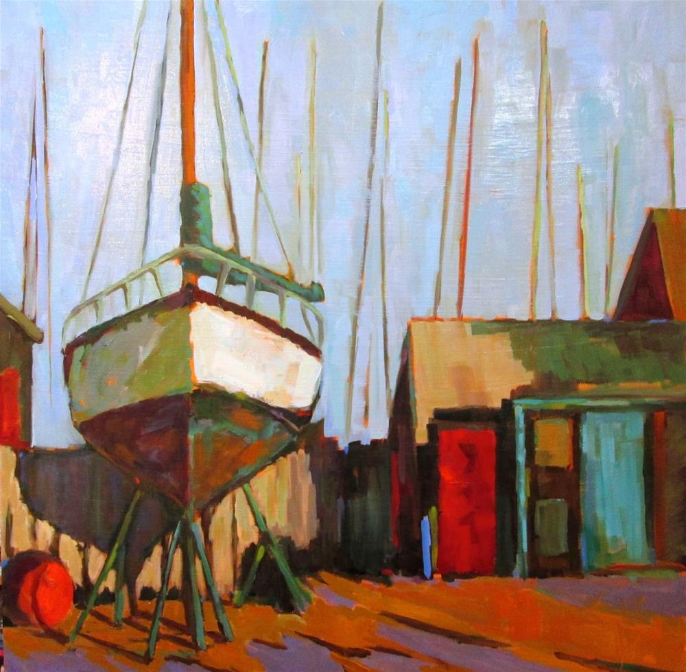 """Winter Storage 24x24 oil on Gesso Board. Late Fall early winter at a Marina in my  neighborhood."" original fine art by Mary Sheehan Winn"