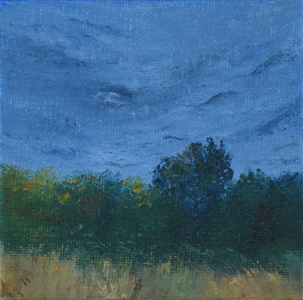 """Clouds over a Fall Landscape, Mini Study"" original fine art by Tisha Mark"