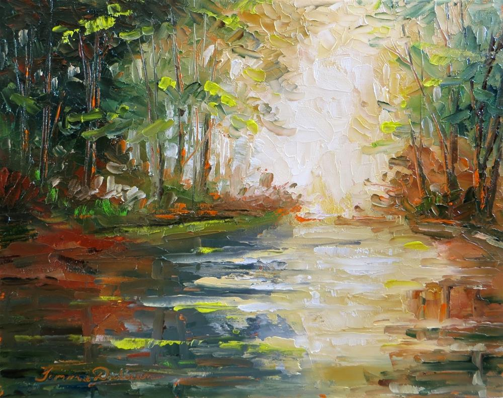 """""""Wooded Lake in Palette Knife"""" original fine art by Tammie Dickerson"""