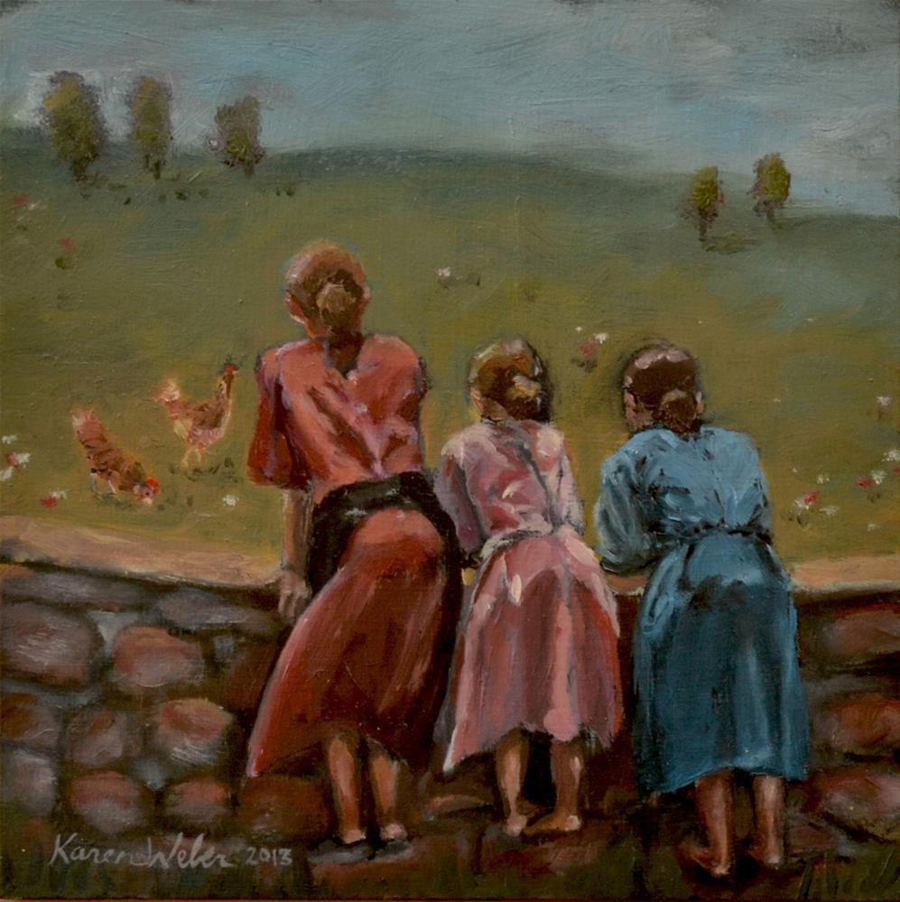 """Pecking order"" original fine art by Karen Weber"