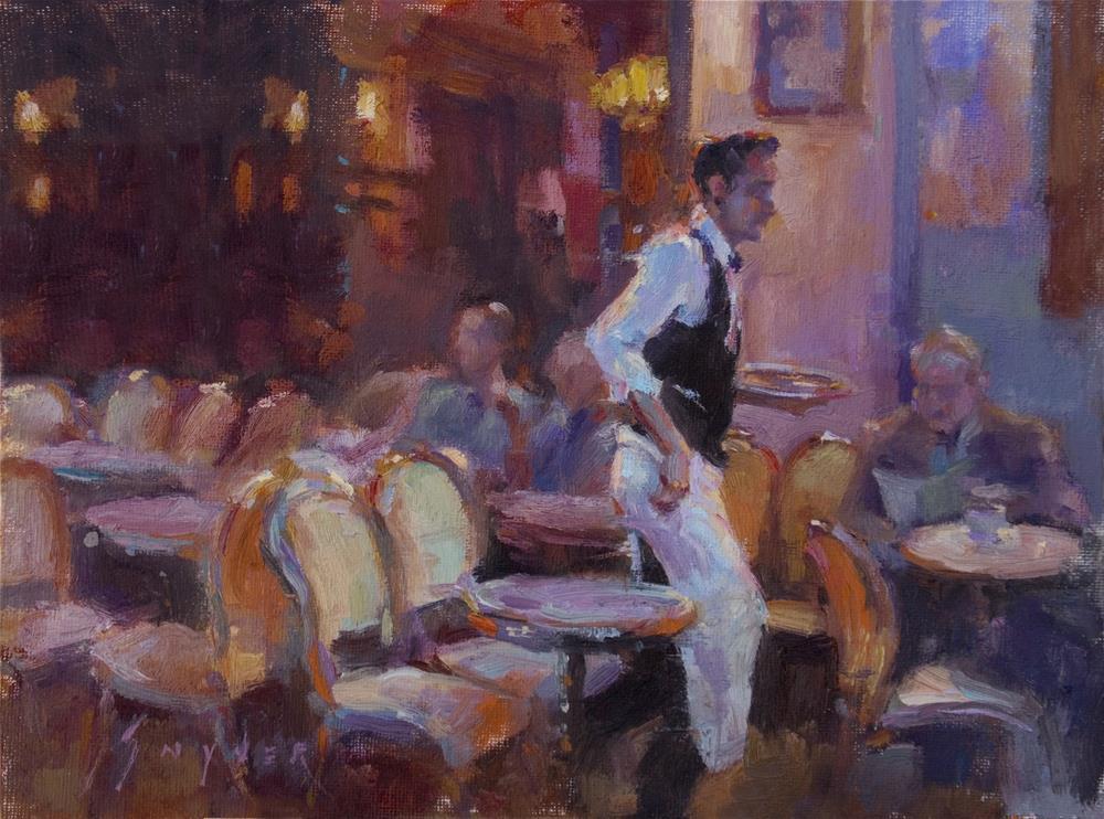 """""""Café La Nuit"""" original fine art by Julie Snyder"""