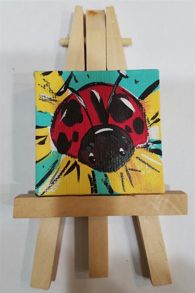 """""""Itty Bitty Ladybug #657"""" original fine art by Terri Einer"""