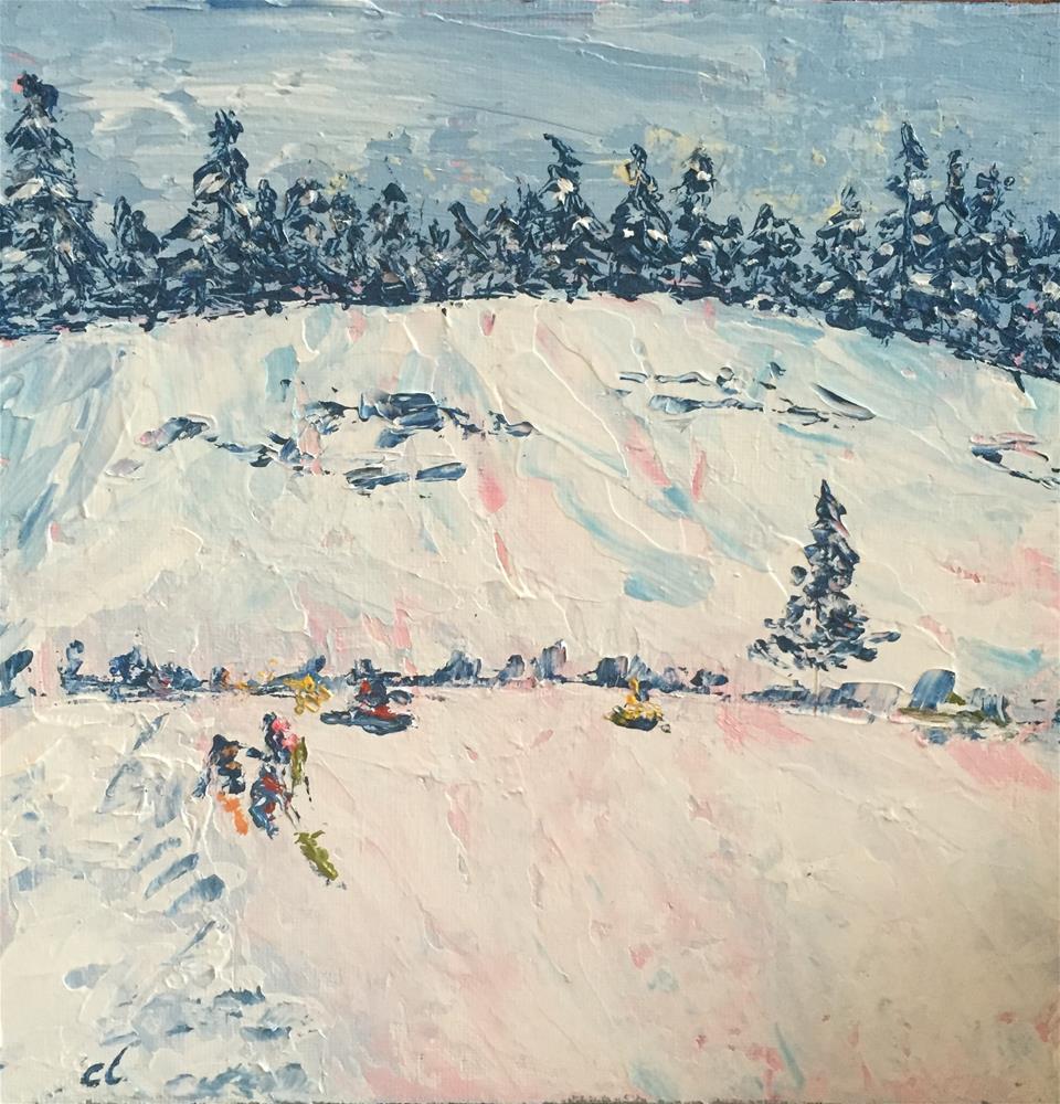 """Little Sled Hill"" original fine art by Cheree Apalona Lueck"