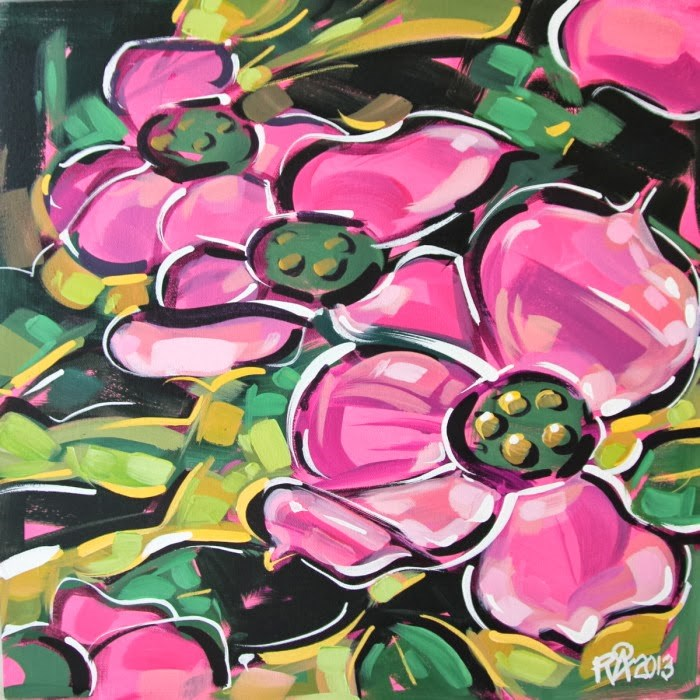 """Flower Abstraction 48"" original fine art by Roger Akesson"