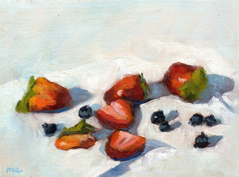 """""""Strawberries & Blackberries, 2015"""" original fine art by Marlene Lee"""
