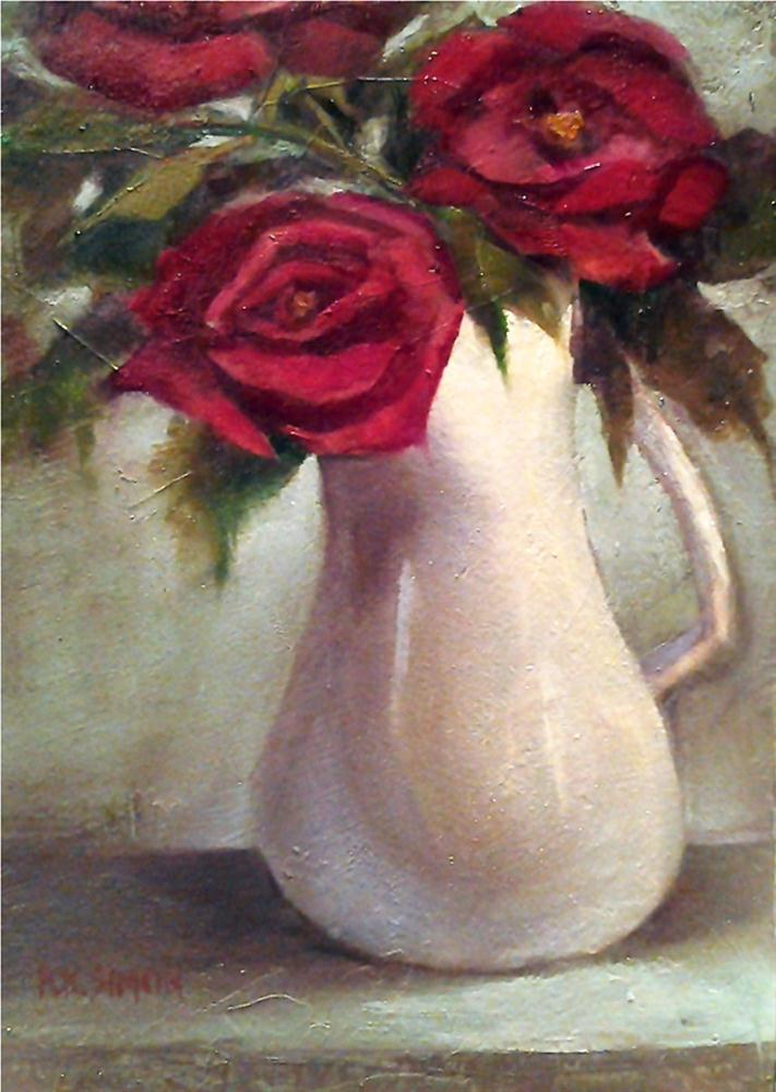 """""""Really Red Roses"""" original fine art by A.K. Simon"""