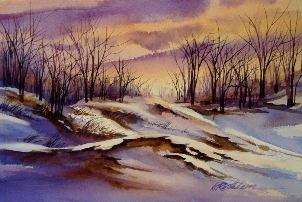 """Winter Dunes at Sunset"" original fine art by Kathy Los-Rathburn"