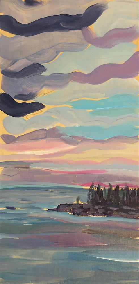 """Sunrise with Dark Clouds"" original fine art by Kat Corrigan"