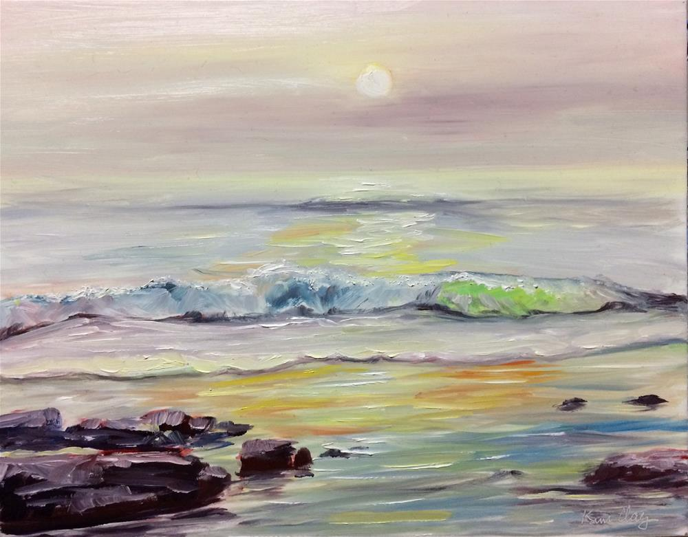 """Sunset on the beach"" original fine art by Kim Clay"