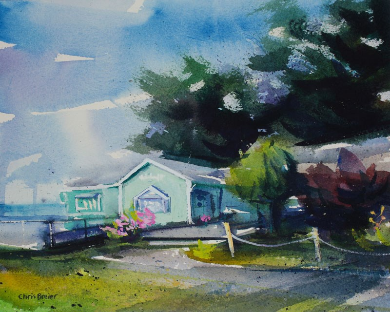"""Lakeview Villiage Shoppes"" original fine art by Chris Breier"
