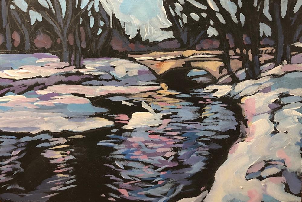 """Minnehaha Creek With Snow"" original fine art by Kat Corrigan"