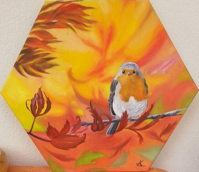 """a bird alone"" original fine art by Konstantia Karletsa"