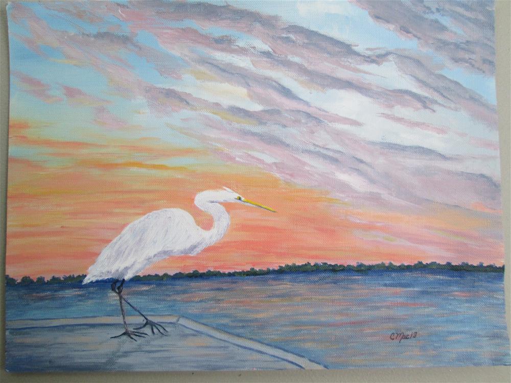 """Egret at Sunset"" original fine art by Chris MacCormack"
