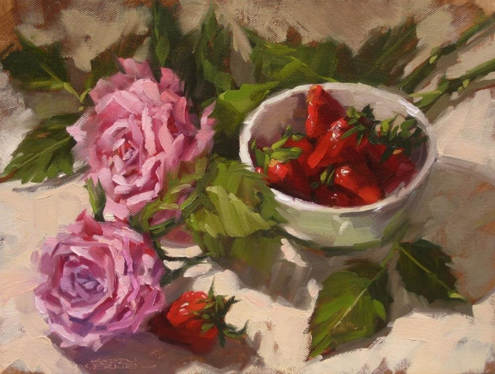 """Berries & Roses"" original fine art by Karen Werner"