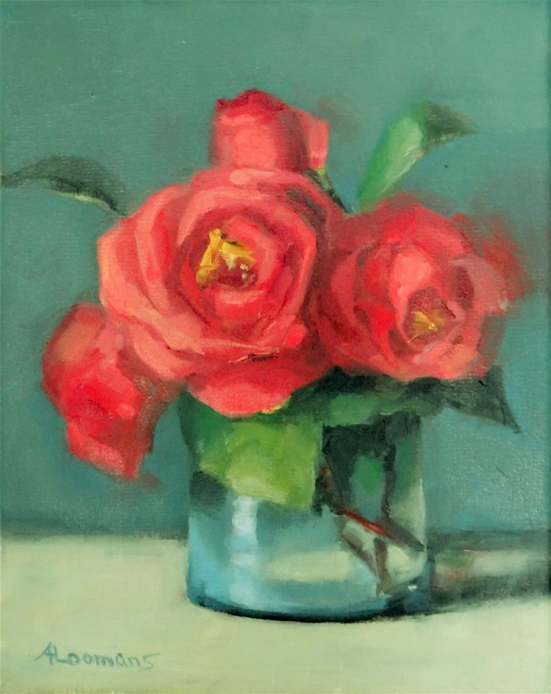 """""""Red Camellias"""" original fine art by Adele Loomans"""
