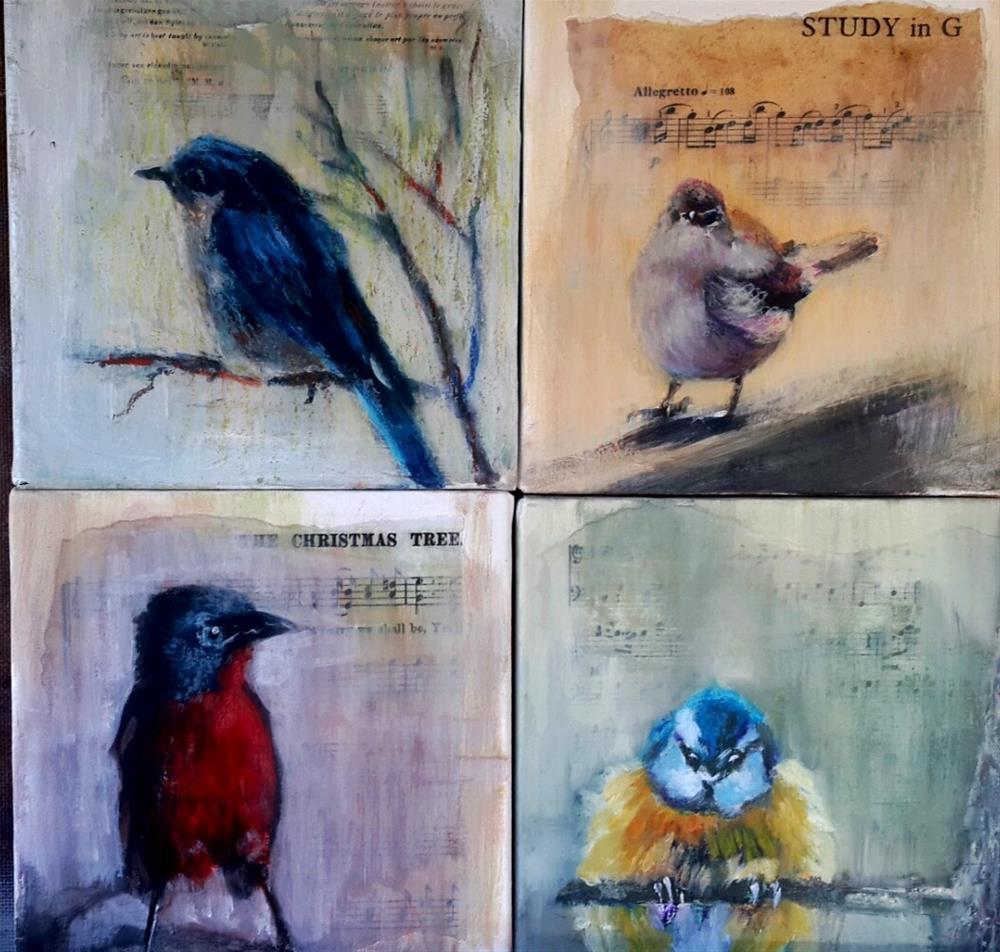 """""""4 Birdsong"""" original fine art by Rentia Coetzee"""