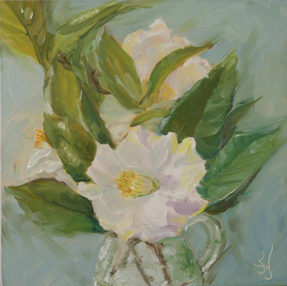 """White Camellia"" original fine art by Jan Jackson"