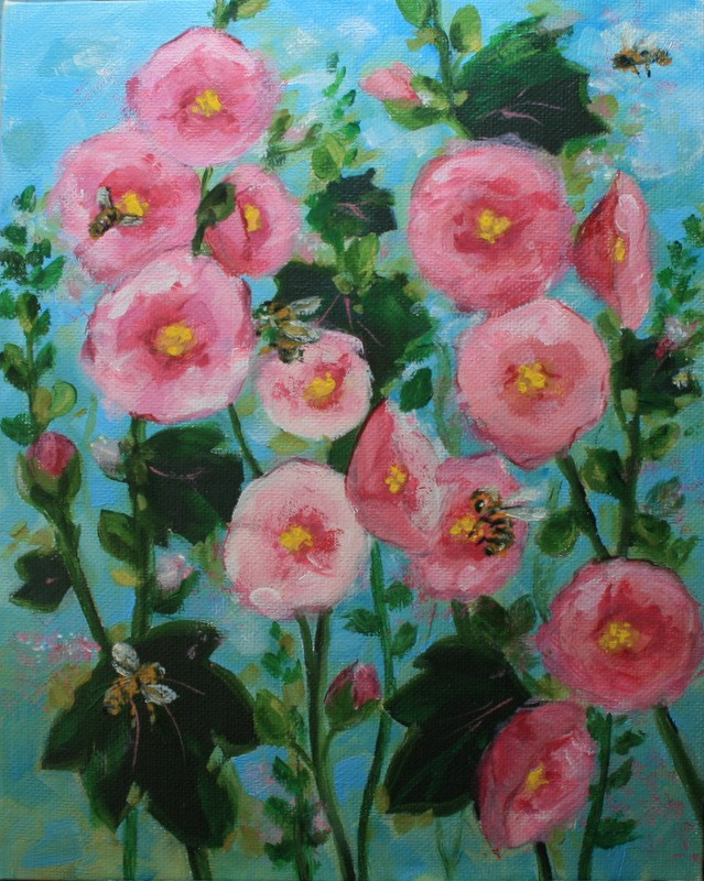 """Bees in the Hollyhocks"" original fine art by Jean Nelson"