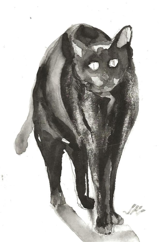 """Daily Cat 122"" original fine art by Jean Krueger"