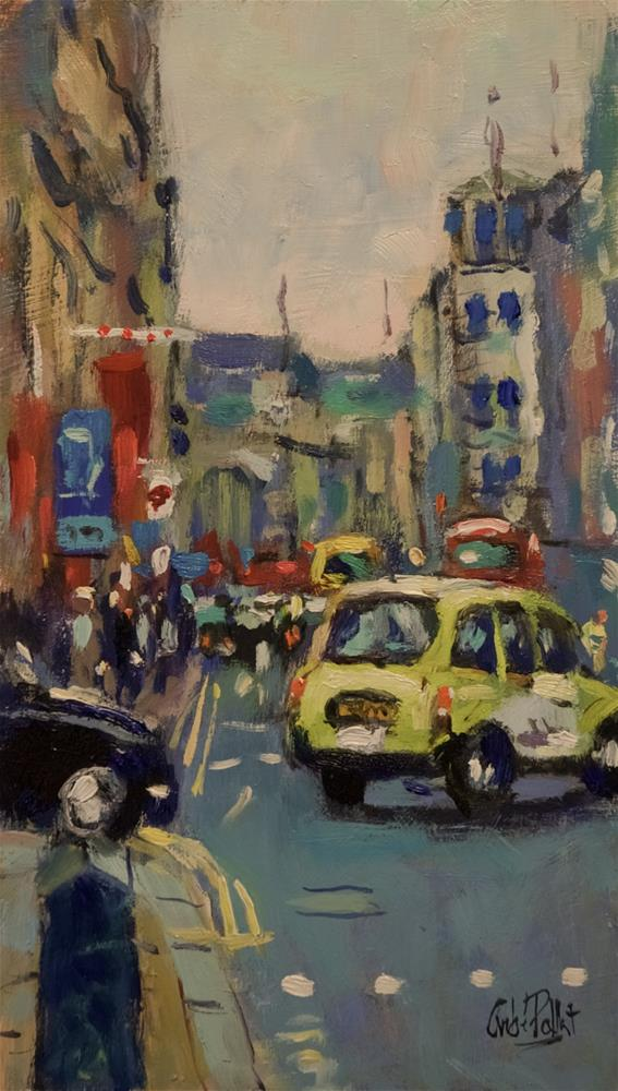 """""""Taxi in Piccadilly"""" original fine art by Andre Pallat"""