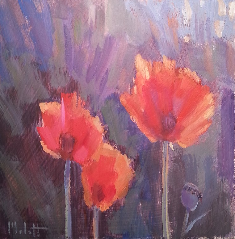 """Sun Salutation Poppies in Garden Painting"" original fine art by Heidi Malott"