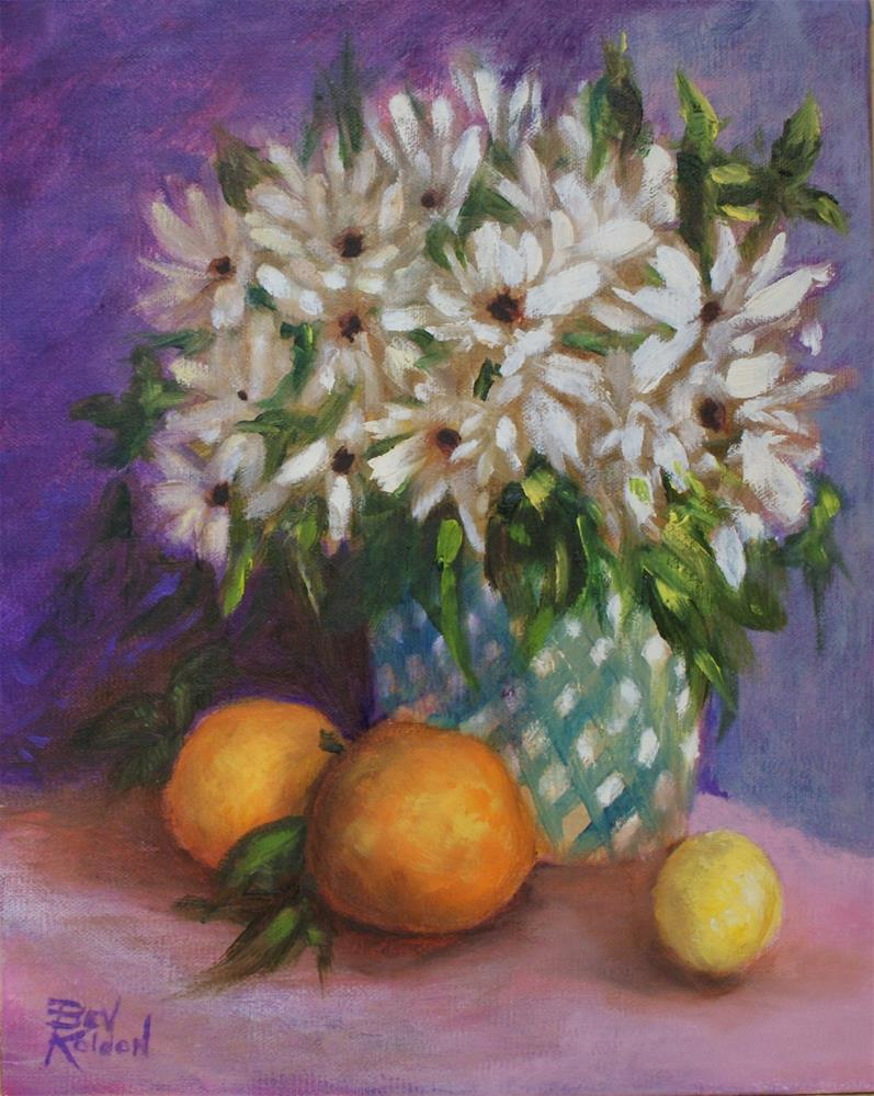 """Daisies and Fruit"" original fine art by Beverly Koldon"