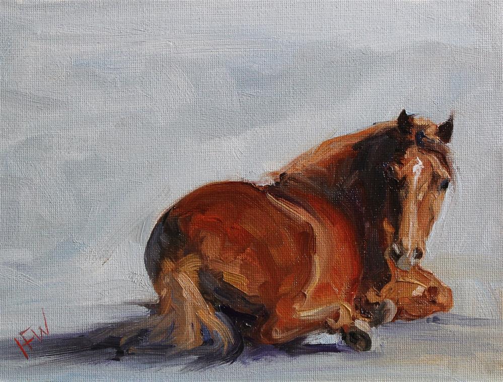 """""""Red Pony Nap"""" original fine art by H.F. Wallen"""