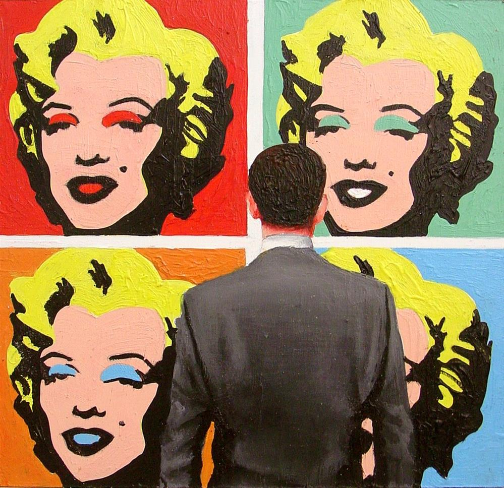 """4 Marilyns- Painting Of Man Enjoying Painting Of Marilyn Monroe By Andy Warhol"" original fine art by Gerard Boersma"