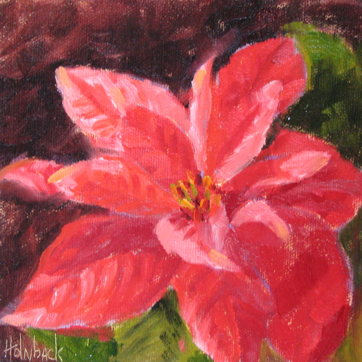 """One More Poinsettia -- 100 Garden & Floral Oil Paintings 95/100"" original fine art by Pam Holnback"