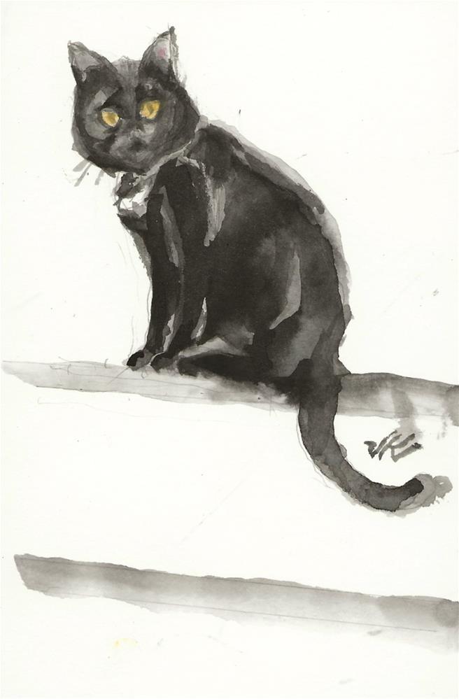 """Daily Cat 155"" original fine art by Jean Krueger"