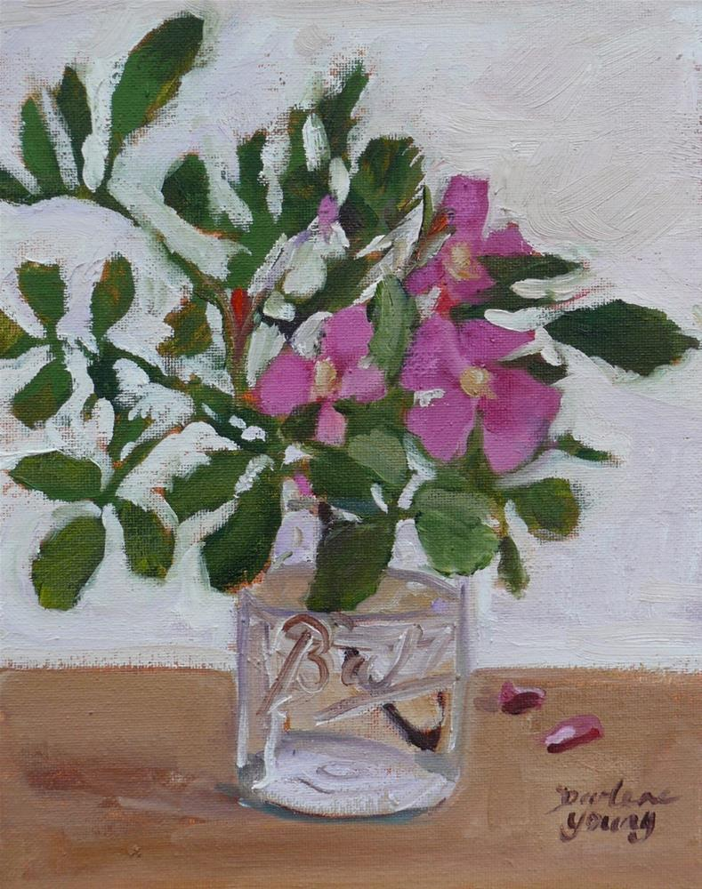 """1055 Wild Roses in a Ball Jar, 8x10, oil on board"" original fine art by Darlene Young"