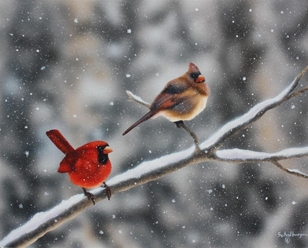 """A Couple of Snowbirds"" original fine art by Fred Schollmeyer"