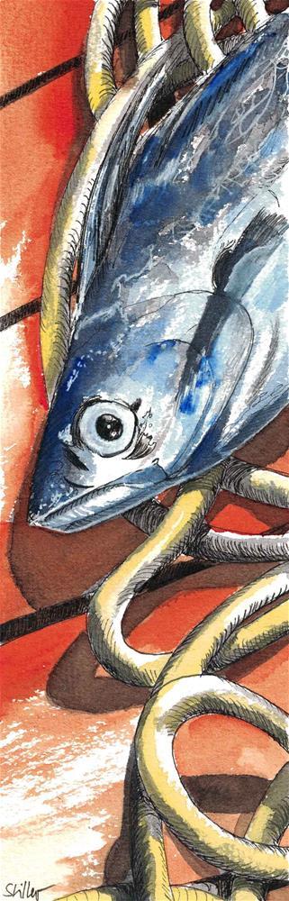 """3106 Catching Fish"" original fine art by Dietmar Stiller"
