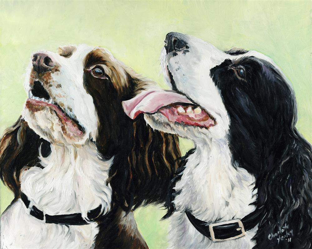 """""""Two English Springer Spaniels"""" original fine art by Charlotte Yealey"""