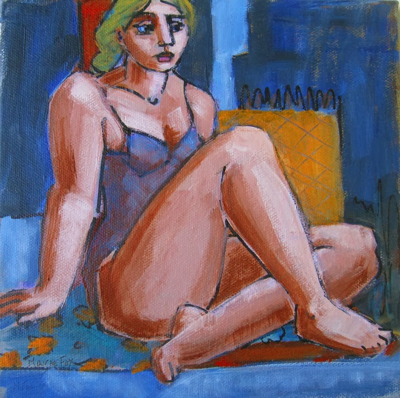 """""""Figurative female painting, figure study of seated woman, contemporary figure painter, figuration"""" original fine art by Marie Fox"""