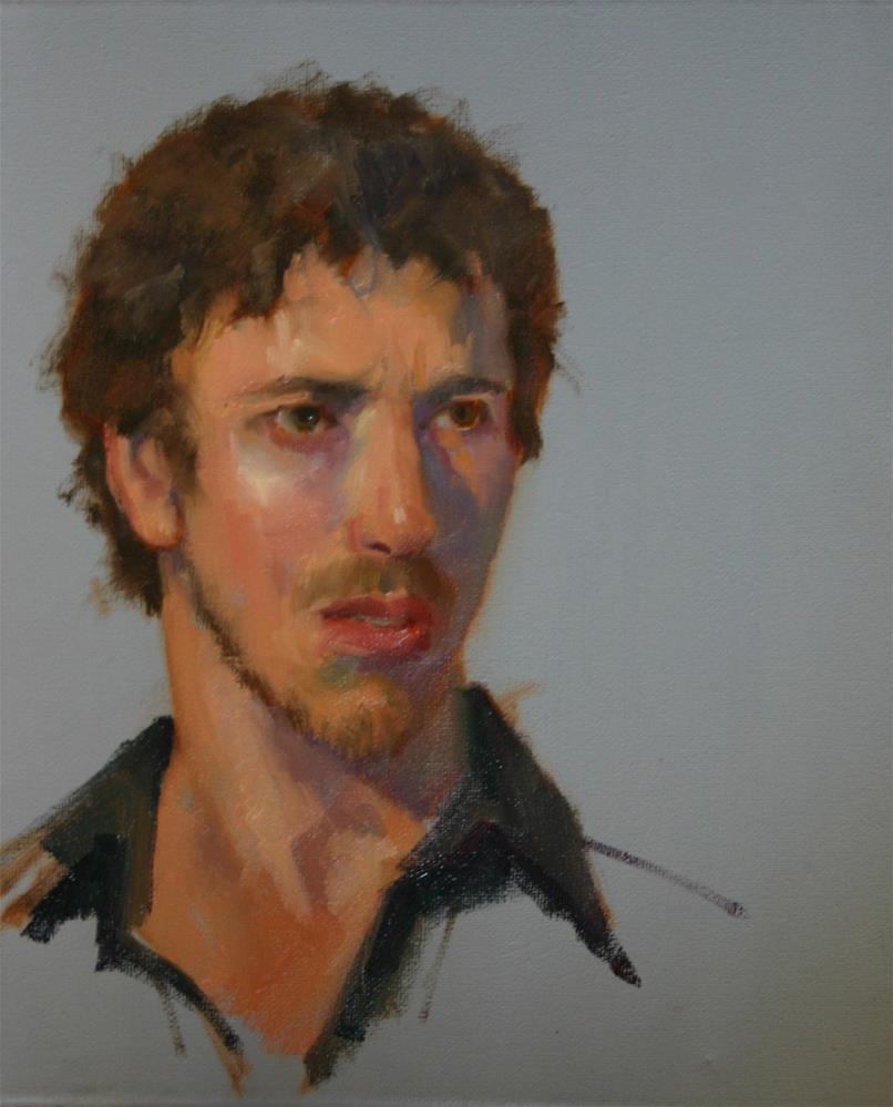 """""""Oil sketch of Gavin"""" original fine art by Liz Balkwill"""