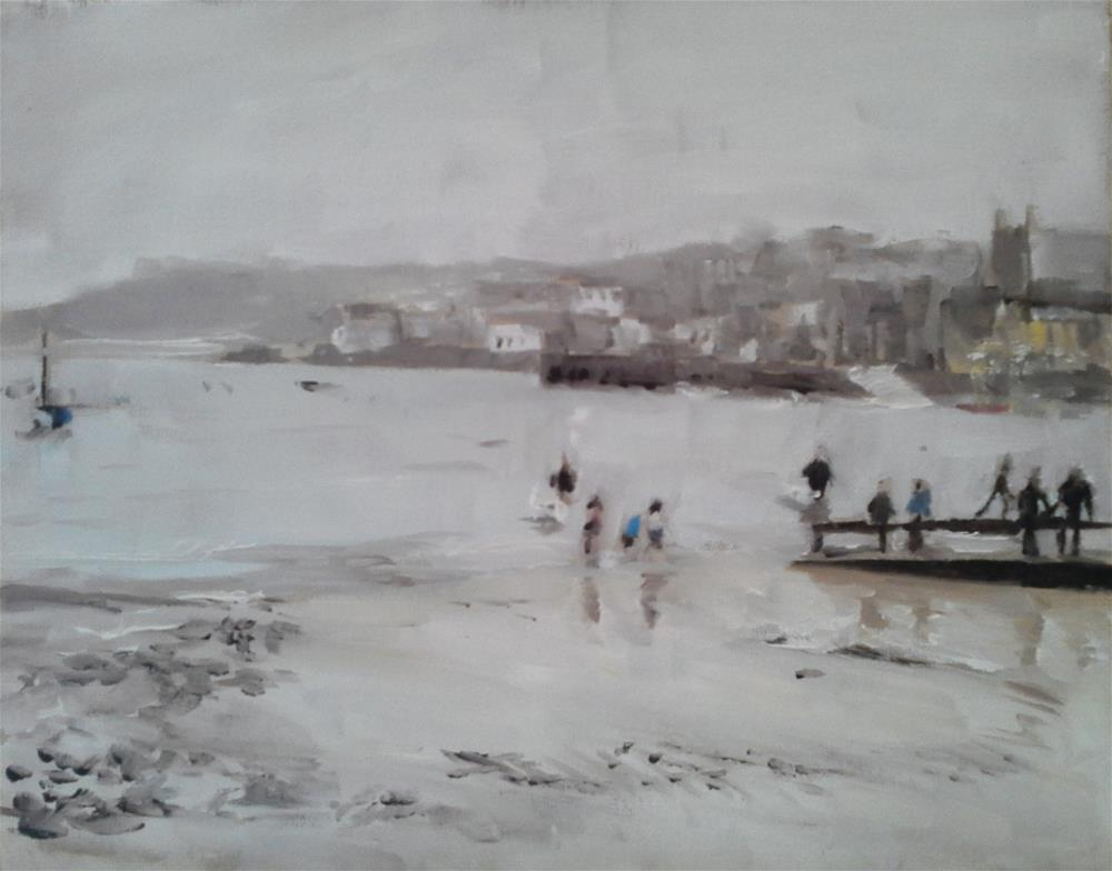 """""""St Ives, Cornwall One Wet Evening"""" original fine art by James Coates"""