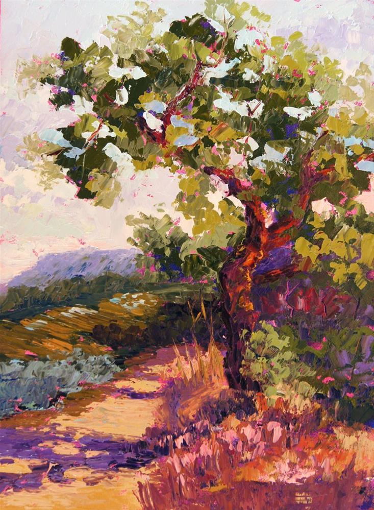 """""""Guardian of the View, Tree painting"""" original fine art by Marion Hedger"""