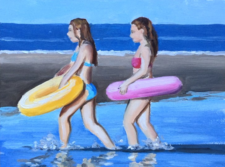 """RiverTubers"" original fine art by Peter Bain"