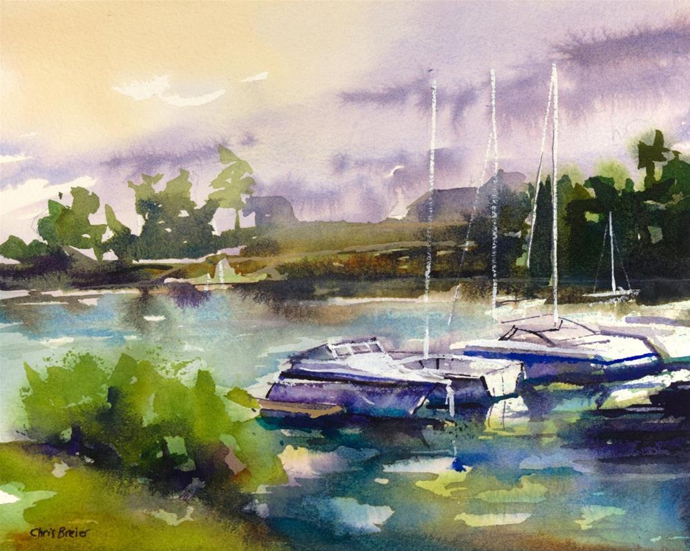"""Sunset With Boats"" original fine art by Chris Breier"