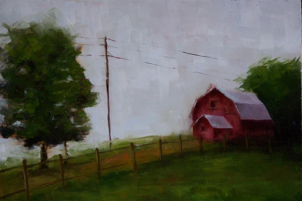 """The Red Barn"" original fine art by Gail G. Slockett"