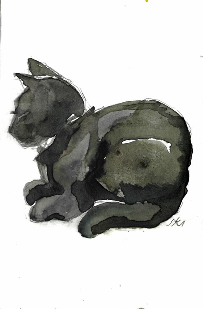 """Daily Cat 44"" original fine art by Jean Krueger"