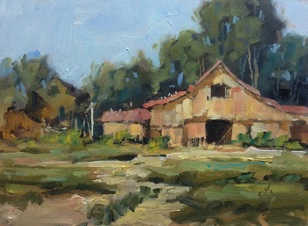 """BACK OF THE FARM"" original fine art by Tom Brown"